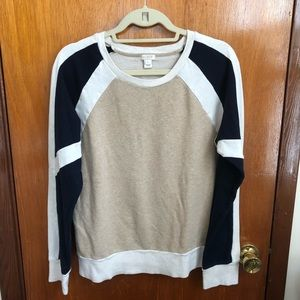JCrew Color Block Navy Cream Pullover Sweatshirt